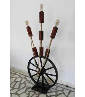 Wood, metal and rope floor lamp 209