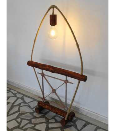 Φωτιστικό δαπέδου από ξύλο, μέταλλο και σχοινί 212