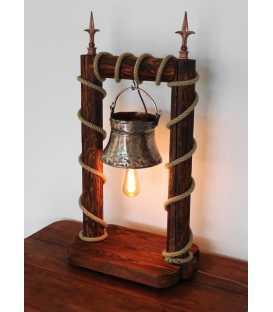 Διακοσμητικό φωτιστικό επιτραπέζιο από ξύλο, παλιό χάλκινο σκεύος και σχοινί 215