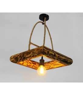 Κρεμαστό φωτιστικό οροφής από ξύλο, μέταλλο και σχοινί 220