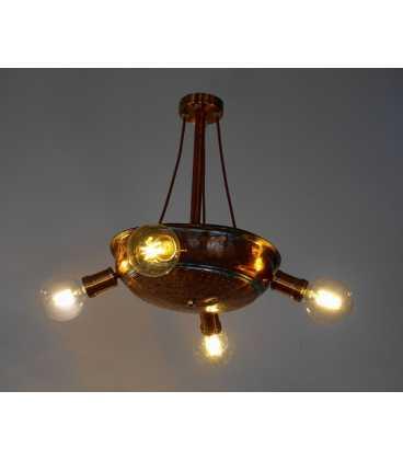 Κρεμαστό φωτιστικό οροφής από παλιό χάλκινο σουρωτήρι 241