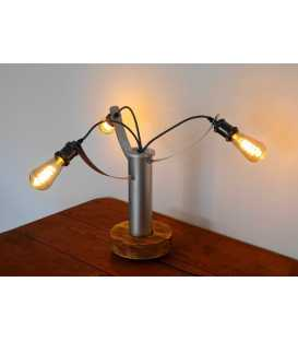 Metal decorative table light with a wooden base 243