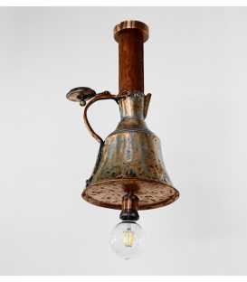 Οld copper jug and wood pendant light 248