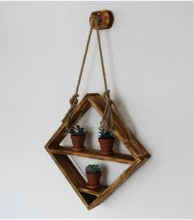 Hanging wood and rope wall shelf 257