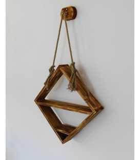 Hängendes Wandregal aus Holz und Seil 257