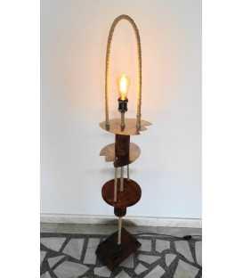 Wood, metal and rope floor lamp 265