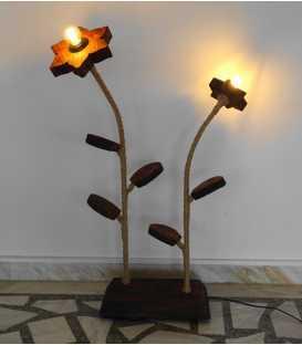 Wood, metal and rope floor lamp 266