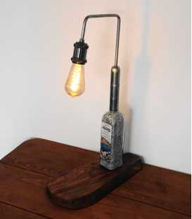 Decorative ouzo bottle table light with a wooden base 290