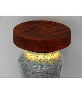 Dekorative Tischleuchte aus Holz und einem Einmachglas 294