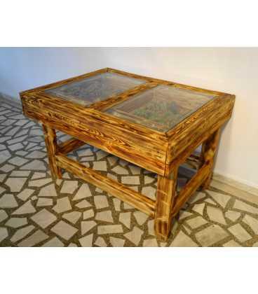 Palettenholz Tischgarnitur mit zwei Stühlen und einer Bank