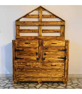 Pallet wood cabinet with 4 drawers and 2 doors 037