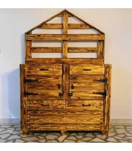 Schrank mit 4 Schubladen und 2 Türe aus Palletenholz 037