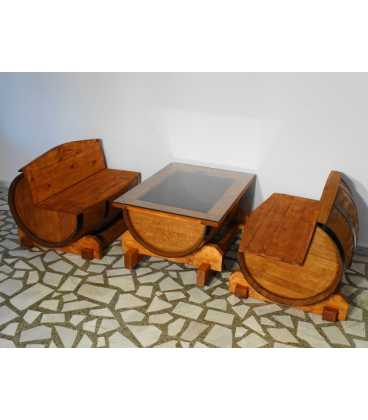 Wine barrel table set with 2 sofas