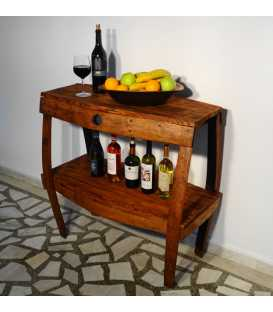 Holztisch mit zwei Regalen 042