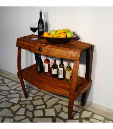 Ξύλινο τραπεζάκι-κάβα κρασιών
