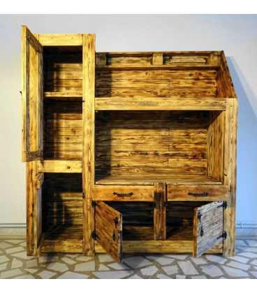 Ξύλινο σύνθετο με 2 συρτάρια και 3 ντουλάπια