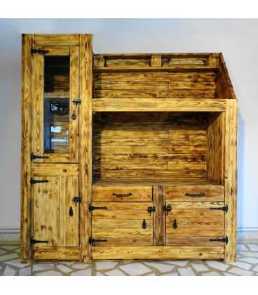 Pallet wood showcase with 2 drawers and 3 cupboards