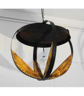 Wooden metal pendant light