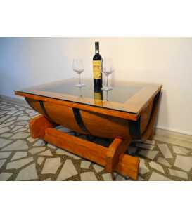 Wine barrel table with glass top 001