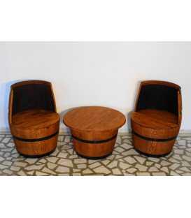 Σετ 2 πολυθρόνες με τραπέζι από ξύλινα βαρέλια κρασιού 049