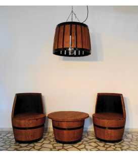 Σετ 2 πολυθρόνες με τραπέζι και φωτιστικό από ξύλινα βαρέλια κρασιού 050