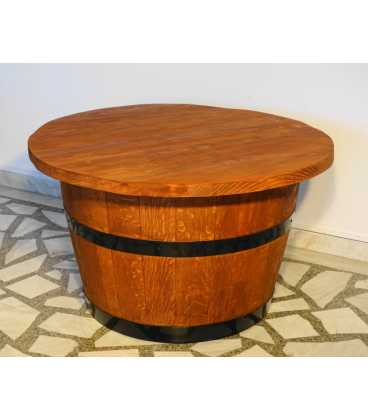 Wine barrel table set with 2 armchairs and a pendant light 050
