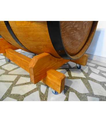 Wine barrel table with glass top