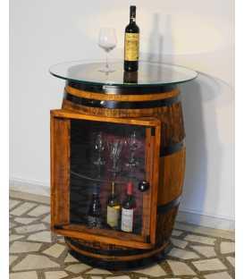 Τραπέζι-μπαράκι από ξύλινο βαρέλι κρασιού με τζάμι