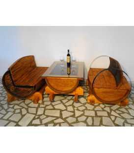 Σετ 2 καναπέδες με τραπέζι από ξύλινα βαρέλια κρασιού 004