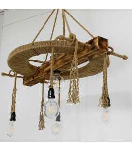 Holz, Metal und Seil hängende Deckenleuchte 065