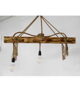 Holz und Seil hängende Deckenleuchte 069