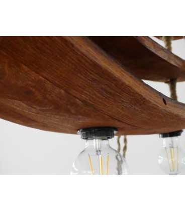 Κρεμαστό φωτιστικό οροφής από ξύλο και σχοινή 071