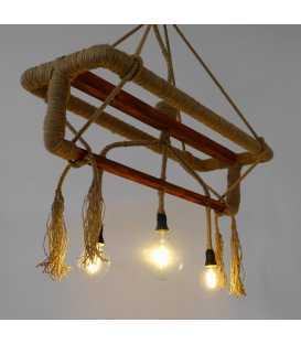 Κρεμαστό φωτιστικό οροφής από ξύλο και σχοινή 075