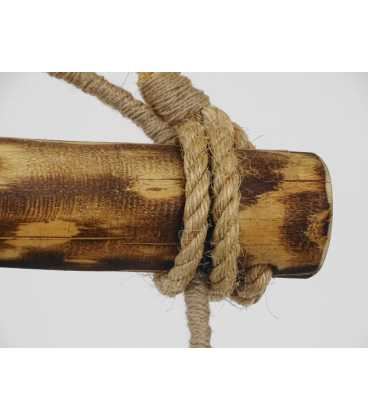 Holz und Seil hängende Deckenleuchte 078