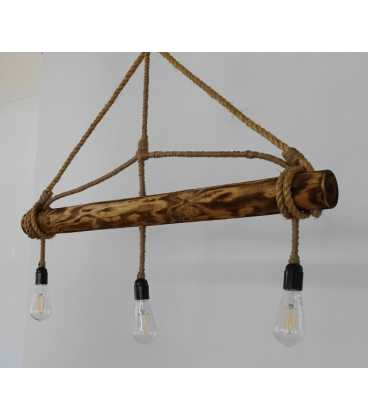 Wood and rope pendant light 078