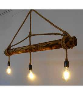 Κρεμαστό φωτιστικό οροφής από ξύλο και σχοινή 078