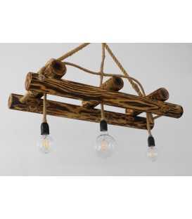 Κρεμαστό φωτιστικό οροφής από ξύλο και σχοινί 093
