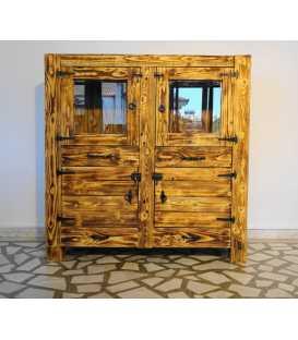 Βιτρίνα με 2 συρτάρια και 2 ράφια από ξύλα παλέτας 005