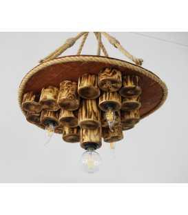 Κρεμαστό φωτιστικό οροφής από ξύλο και σχοινί 095