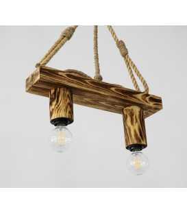 Holz und Seil hängende Deckenleuchte 096