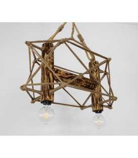 Holz, Metal und Seil hängende Deckenleuchte 099