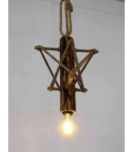 Wood, metal and rope pendant light 100