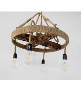 Κρεμαστό φωτιστικό οροφής από ξύλο, μέταλλο και σχοινί 101