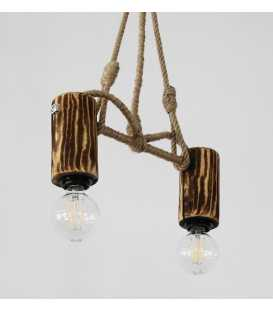 Wood, metal and rope pendant light 105