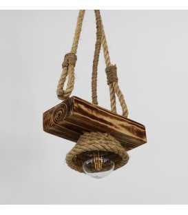 Holz und Seil hängende Deckenleuchte 109