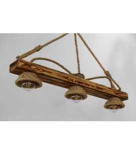 Holz und Seil hängende Deckenleuchte 111