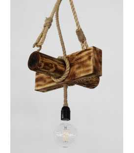 Wood and rope pendant light 115
