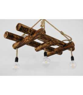 Wood and rope pendant light 117