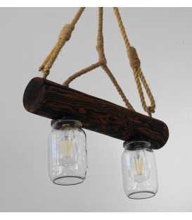 Κρεμαστό φωτιστικό οροφής από ξύλο, σχοινή και γυάλινα βάζα 136