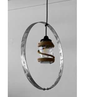 Metal, jar and rope pendant light 142